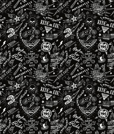 Vintage traditional tattoo biker seamless pattern,  illustration