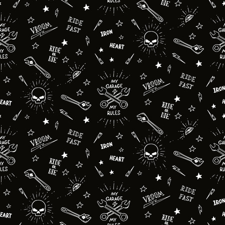 motorcycle repair shop: Vintage traditional tattoo biker seamless pattern,  illustration