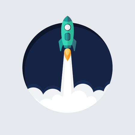 rocketship: Flat designt business startup launch concept, rocket icon