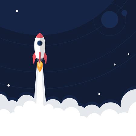 Flat designt business startup launch concept, vector illustration