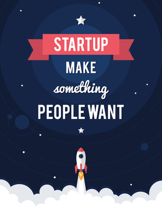 Flat designt business startup launch motivational poster. Vector.