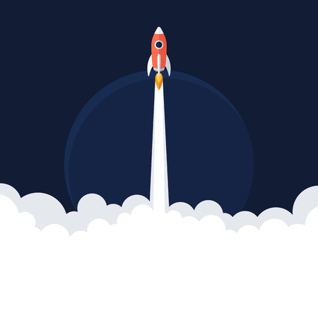 rocketship: Flat designt business startup launch concept with rocket symbol Illustration