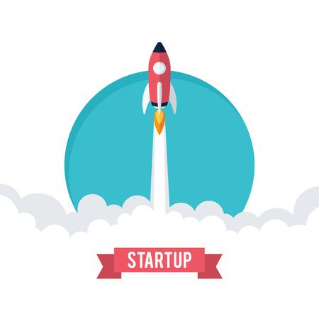 플랫 designt 사업 시작 발사 개념, 로켓 아이콘 일러스트