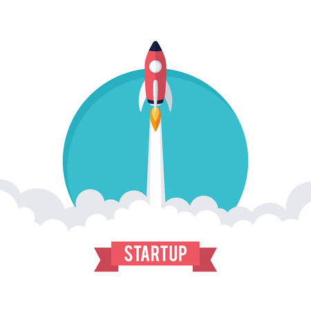 launch: Flat designt business startup launch concept, rocket icon