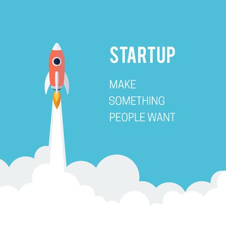 planos: Concepto lanzamiento plana Designt inicio de negocios con el icono de cohetes Vectores