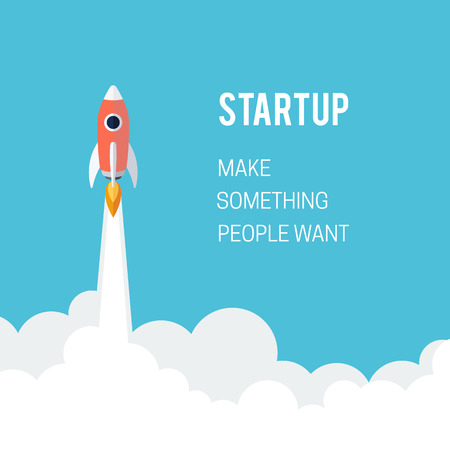 Flat designt business startup launch concept with rocket icon Çizim