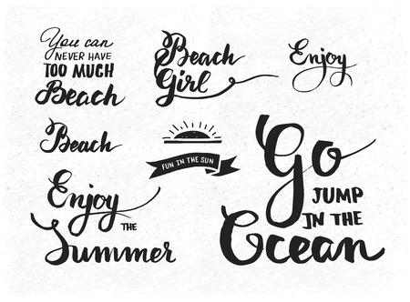 d�tente: Ensemble de citations de motivation d'�t� sur les plaisirs de la plage et de d�tente, vecteur