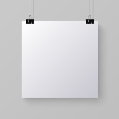 square sheet: White blank square sheet of paper on the light gray background mock-up illustration