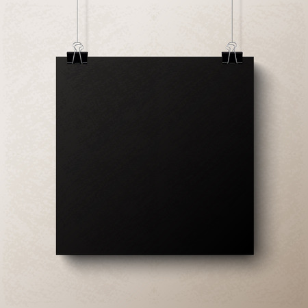 square sheet: Black textured blank square sheet of paper on the beige background, vector mock-up illustration