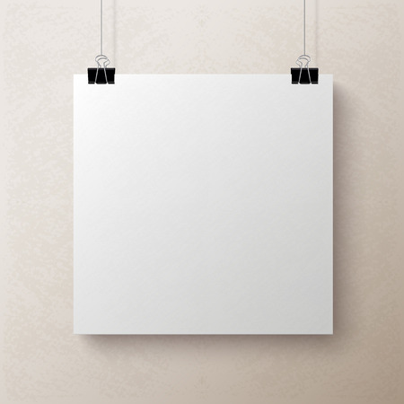 square sheet: White textured blank square sheet of paper on the beige background, vector mock-up illustration