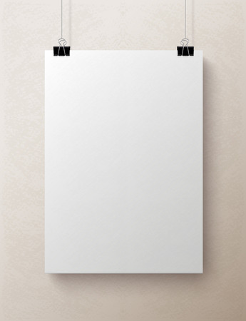 White blank textured vertical sheet of paper on the light beige background