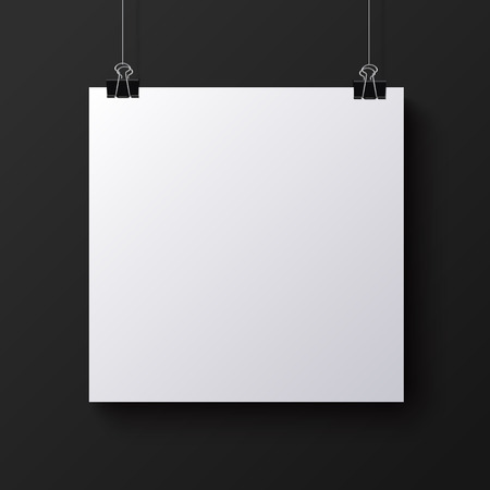 square sheet: White blank square sheet of paper on the black background