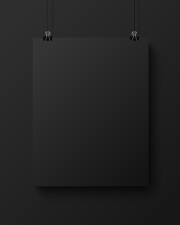 square sheet: Black blank square sheet of paper on the black background