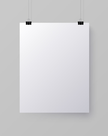 White blank vertical sheet of paper on the light grey background Иллюстрация
