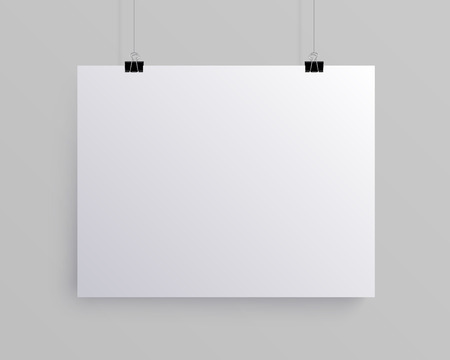 White blank horizontal sheet of paper on the light grey background, vector mock-up illustration Illustration