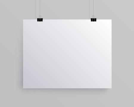 White blank horizontal sheet of paper on the light grey background, vector mock-up illustration 矢量图像