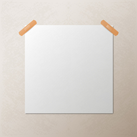 mur platre: Blanc textur� morceau carr� de papier blanc coll� sur le mur avec un morceau de pl�tre, vecteur mock-up illustration
