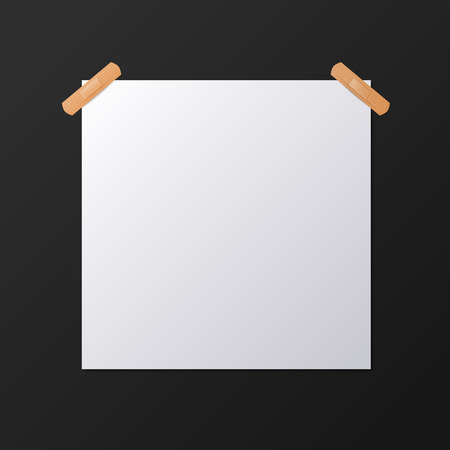 square sheet: White blank square sheet of piece of paper taped to the wall with a piece of plaster, vector mock-up illustration