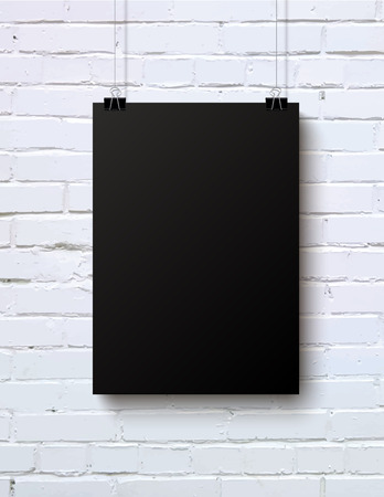Black blank vertical poster mock-up on the white brick wall, vector illustration Banco de Imagens - 40072839