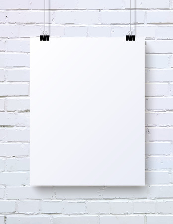 White blank vertical poster mock-up on the white brick wall, vector illustration