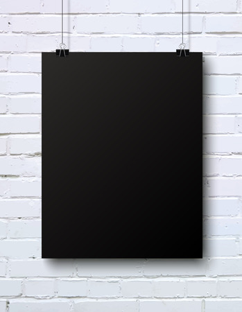 Black blank vertical poster mock-up on the white brick wall, vector illustration