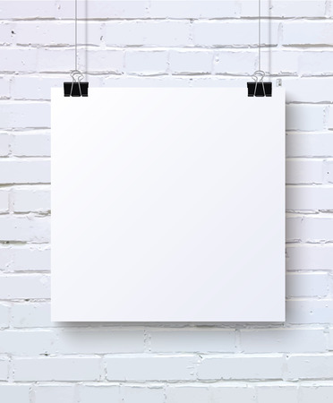 White blank poster mock-up on the white brick wall, vector illustration