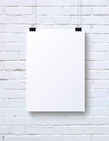 hoja en blanco: Blanca cartel en blanco verticales maqueta en la pared de ladrillo blanco, ilustración vectorial
