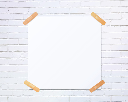 White square blank piece of paper taped to the white brick wall with beige plaster, vector illustration Ilustração