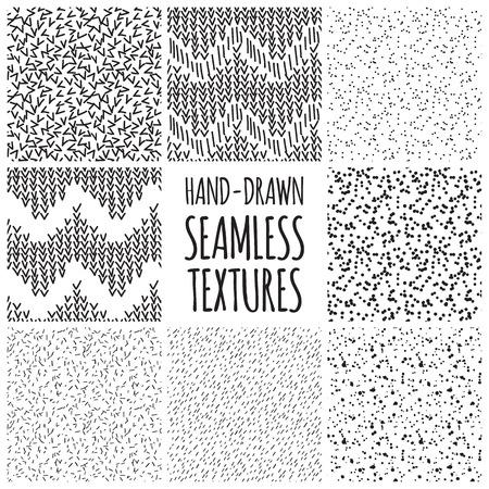 lineal: Conjunto de ocho diseños sin fisuras texturas dibujadas a mano en blanco y negro para los fondos, ilustración vectorial Vectores