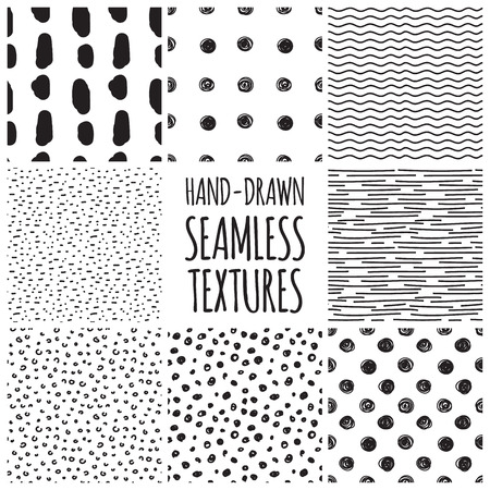 seamless geometric: Set of eight black and white seamless hand drawn texture designs for backgrounds, vector illustration