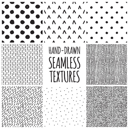Set of eight black and white seamless hand drawn texture designs for backgrounds, vector illustration