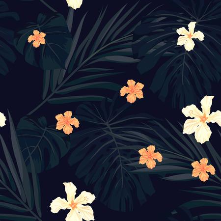 hawaiana: Verano colorido patrón transparente hawaiano con plantas tropicales y flores de hibisco, ilustración vectorial Vectores