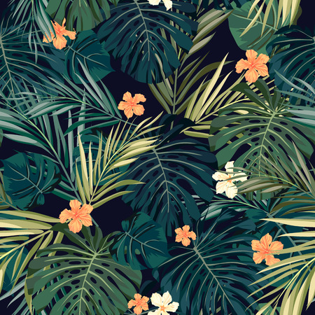 tropical beaches: Summer colorful hawaiian seamless pattern with tropical plants and hibiscus flowers, vector illustration