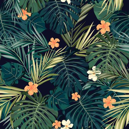 playas tropicales: Verano colorido patrón transparente hawaiano con plantas tropicales y flores de hibisco, ilustración vectorial Vectores