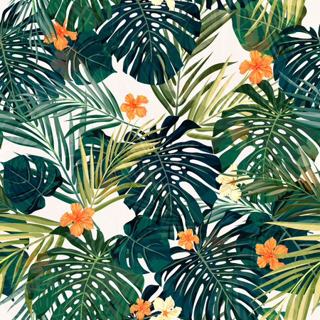 plants: Summer colorful hawaiian seamless pattern with tropical plants and hibiscus flowers, vector illustration