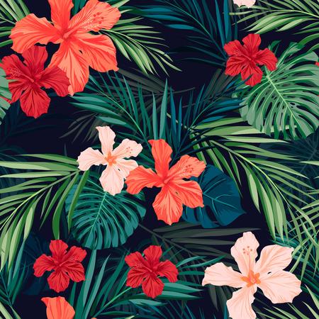 Té coloré seamless hawaïen avec des plantes tropicales et des fleurs d'hibiscus, illustration vectorielle Banque d'images - 40377321