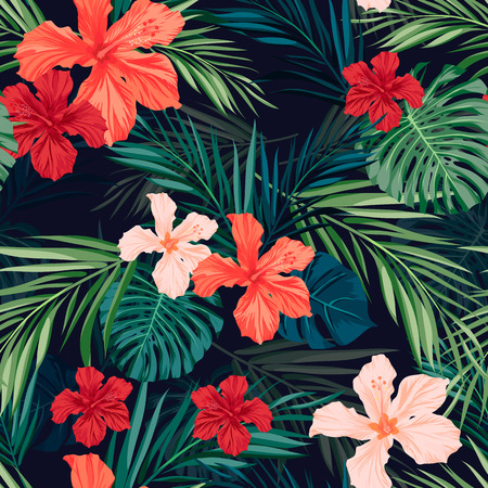 jungla: Verano colorido patrón transparente hawaiano con plantas tropicales y flores de hibisco, ilustración vectorial Vectores