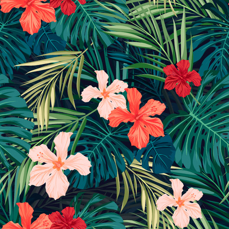 prints: Summer colorful hawaiian seamless pattern with tropical plants and hibiscus flowers, vector illustration