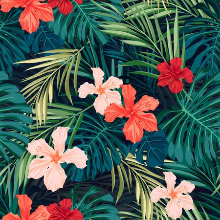flores exoticas: Verano colorido patrón transparente hawaiano con plantas tropicales y flores de hibisco, ilustración vectorial Vectores