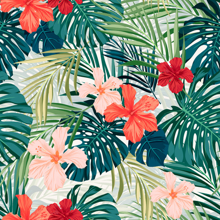 estampado: Verano colorido patrón transparente hawaiano con plantas tropicales y flores de hibisco, ilustración vectorial Vectores