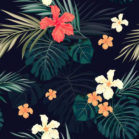 fiori di ibisco: Estate colorato hawaiano seamless con piante tropicali e fiori di ibisco, illustrazione vettoriale