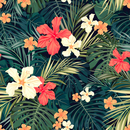 woods: Summer colorful hawaiian seamless pattern with tropical plants and hibiscus flowers, vector illustration