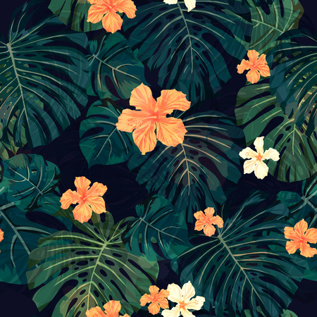 dark jungle green: Summer colorful hawaiian seamless pattern with tropical plants and hibiscus flowers, vector illustration