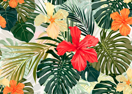 Verano colorido patrón transparente hawaiano con plantas tropicales y flores de hibisco, ilustración vectorial