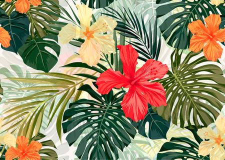 hibiscus: Verano colorido patrón transparente hawaiano con plantas tropicales y flores de hibisco, ilustración vectorial Vectores