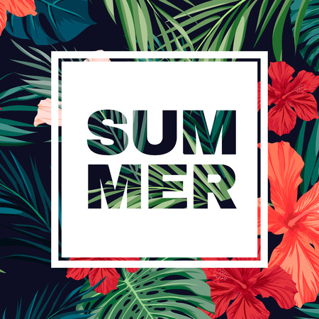 hawaiian: Summer colorful hawaiian flyer design with tropical plants and hibiscus flowers, vector illustration Illustration