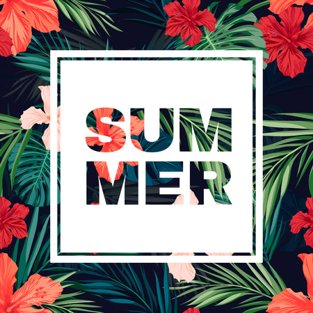 Summer colorful hawaiian flyer or banner design with tropical plants and hibiscus flowers, vector illustration