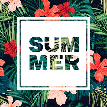 playas tropicales: Colorido diseño de volante hawaiano verano con plantas tropicales y flores de hibisco, ilustración vectorial Vectores