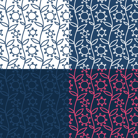 Set of four simple naive hand drawn seamless retro textile folk patterns with leaves and flowers, vector illustration Vector