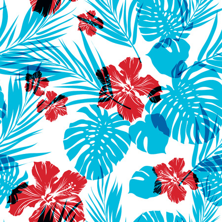 blue prints: Bright seamless summer pattern with palm tree leaves and hibiscus flowers, cyan and magenta overlay effect